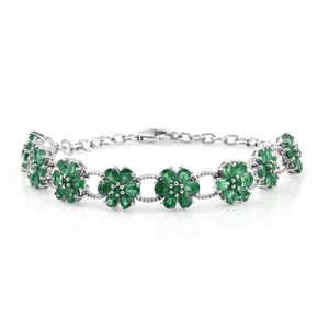 Premium Brazilian Emerald Platinum Over Sterling Silver Floral Bracelet (6.00-7.50In) TGW 6.42 cts.