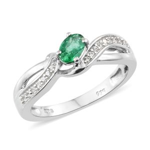 Premium Brazilian Emerald, Cambodian Zircon Platinum Over Sterling Silver Fancy Bypass Ring (Size 5.0) TGW 0.60 cts.