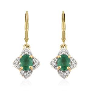 Premium Brazilian Emerald, Cambodian Zircon Vermeil YG Over Sterling Silver Lever Back Earrings TGW 0.94 cts.