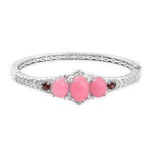 KARIS Collection - Burmese Pink Jade, Multi Gemstone Platinum Bond Brass Bangle (7.25 in) TGW 18.21 cts.