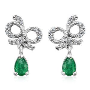 Premium Brazilian Emerald, Cambodian Zircon Platinum Over Sterling Silver Bow Drop Earrings TGW 1.05 cts.