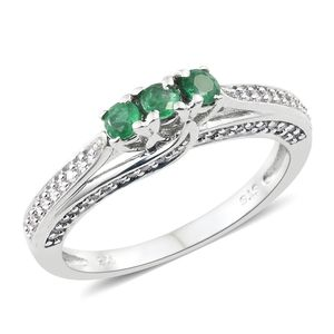 Premium Brazilian Emerald, Cambodian Zircon Platinum Over Sterling Silver Ring (Size 7.0) TGW 0.78 cts.