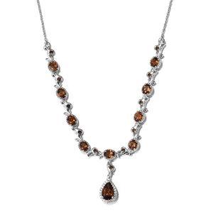 Mocha Scapolite, Brazilian Smoky Quartz, Cambodian Zircon Platinum Over Sterling Silver Drop Princess Necklace (18 in) TGW 4.40 cts.