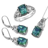 Peacock Quartz, White Topaz Platinum Over Sterling Silver Lever Back Earrings, Ring (Size 5) and Pendant With Chain (20 in) TGW 16.00 cts.