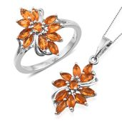 Salamanca Fire Opal Platinum Over Sterling Silver Ring (Size 6) and Pendant With Chain (20 in) TGW 1.96 cts.