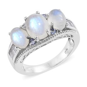 Rainbow Moonstone, Multi Gemstone Platinum Over Sterling Silver Ring (Size 7.0) TGW 8.60 cts.