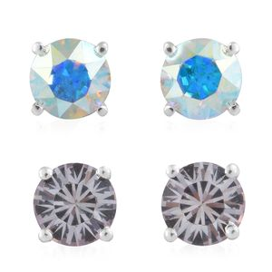 Sterling Silver Set of 2 Stud Earrings Made with SWAROVSKI White and Aurora Borealis Crystal
