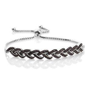 Purple Diamond (IR) Black Rhodium & Platinum Over Sterling Silver Braided Bolo Bracelet (Adjustable) TDiaWt 0.50 cts, TGW 0.50 cts.