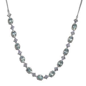 Espirito Santo Aquamarine, Tanzanite Platinum Over Sterling Silver Princess Seahorse Tassel Charm Necklace (18 in) TGW 9.10 cts.