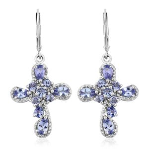 Tanzanite Platinum Over Sterling Silver Cross Lever Back Earrings TGW 2.93 cts.