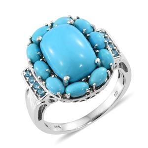 Arizona Sleeping Beauty Turquoise, Malgache Neon Apatite Platinum Over Sterling Silver Ring (Size 7.0) TGW 7.75 cts.