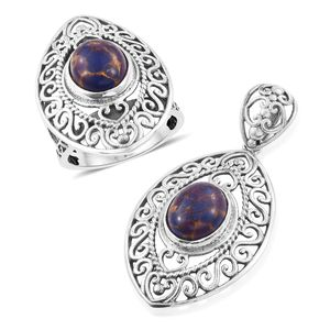 Customer Appreciation Day Artisan Crafted Mojave Purple Turquoise Sterling Silver Openwork Ring (Size 7) and Pendant without Chain TGW 9.58 cts.