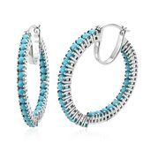 Arizona Sleeping Beauty Turquoise Platinum Over Sterling Silver Inside Out Hoop Earrings TGW 4.12 cts.