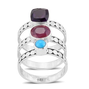 Bali Legacy Collection Set of 3 Niassa Ruby, Multi Gemstone Sterling Silver Stack Rings (Size 8.0) TGW 4.94 cts.
