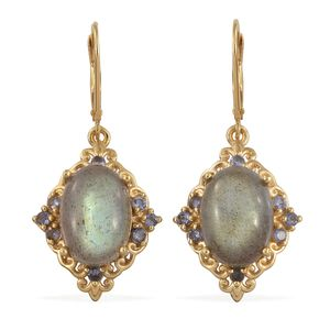 Malagasy Labradorite, Catalina Iolite Vermeil YG Over Sterling Silver Lever Back Earrings TGW 13.85 cts.