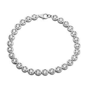 White Zircon Platinum Over Sterling Silver Bracelet (7.50 In) TGW 4.05 cts.