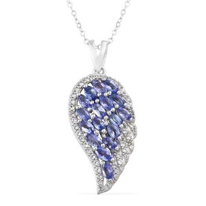 Tanzanite, Cambodian Zircon Platinum Over Sterling Silver Wing Pendant With Chain (20 in) TGW 2.13 cts.