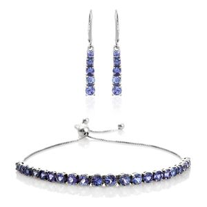 Tanzanite Platinum Over Sterling Silver Bolo Bracelet (Adjustable) and Earrings TGW 5.95 cts.