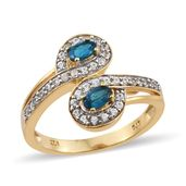 Malgache Neon Apatite, Cambodian Zircon Vermeil YG Over Sterling Silver Bypass Ring (Size 6.0) TGW 1.06 cts.