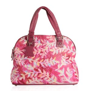 Magenta Genuine Leather Hand Painted Satchel Bag (14x5.2x10.5 in)