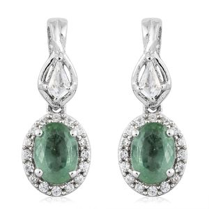 Green Kyanite, White Topaz, Cambodian Zircon Platinum Over Sterling Silver Earrings TGW 2.98 cts.