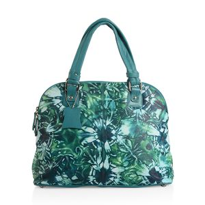 Teal Genuine Leather Hand Painted Satchel Bag (14x5.2x10.5 in)