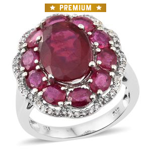 Niassa Ruby, Cambodian Zircon Platinum Over Sterling Silver Cocktail Ring (Size 5.0) TGW 14.73 cts.
