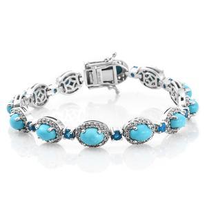 Arizona Sleeping Beauty Turquoise, Malgache Neon Apatite, Cambodian Zircon Platinum Over Sterling Silver Bracelet (6.50 In) Total Gem Stone Weight 12.56 Carat