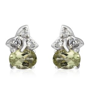 Madagascar Olive Apatite, Cambodian Zircon Platinum Over Sterling Silver Earrings TGW 1.96 cts.
