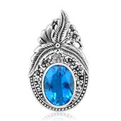 Bali Legacy Collection Caribbean Quartz Sterling Silver Floral Pendant without Chain TGW 9.19 cts.
