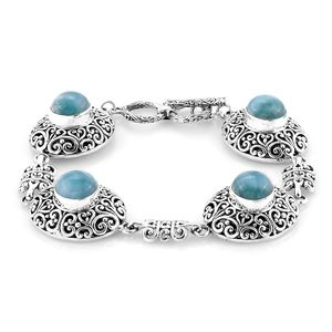 Bali Legacy Collection Larimar Sterling Silver Toggle Clasp Bracelet (7.50 In) TGW 21.75 cts.