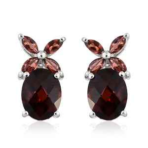 Mozambique Garnet Platinum Over Sterling Silver Butterfly Stud Earrings TGW 4.80 cts.