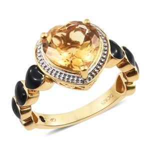 GP Brazilian Citrine, Kanchanaburi Blue Sapphire Black Enameled Vermeil YG Over Sterling Silver Ring (Size 7.0) TGW 4.13 cts.