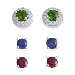Customer Appreciation Day Multi Gemstone Platinum Over Sterling Silver Set of 3 Earrings TGW 2.73 cts.