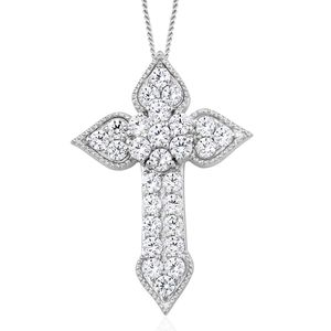 J Francis - Platinum Over Sterling Silver Cross Pendant With Chain Made with SWAROVSKI ZIRCONIA (20 in) TGW 2.52 cts.