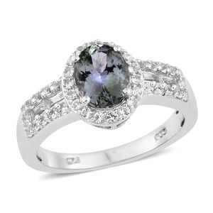 Peacock Tanzanite, White Topaz Platinum Over Sterling Silver Ring (Size 8.0) TGW 2.35 cts.