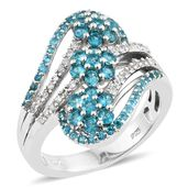 Malgache Neon Apatite, Cambodian Zircon Platinum Over Sterling Silver Floral Bypass Ring (Size 7.0) TGW 2.40 cts.