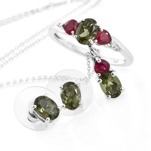 Bohemian Moldavite, Multi Gemstone Platinum Over Sterling Silver Earrings, Ring (Size 6) and Pendant With Chain (20 in) TGW 3.33 cts.