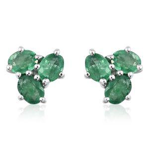 Premium Brazilian Emerald Platinum Over Sterling Silver Stud Earrings TGW 1.06 cts.