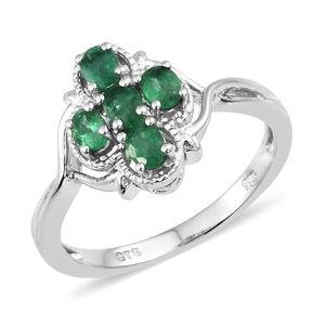 Premium Brazilian Emerald Platinum Over Sterling Silver Split Cross Ring (Size 7.0) TGW 0.95 cts.