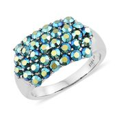 Stainless Steel Ring (Size 9.0) Made with Aurora Borealis SWAROVSKI Crystal TGW 2.25 cts.