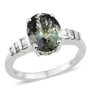 ILIANA 18K WG Premium AAA Peacock Tanzanite, Diamond Ring (Size 7.0) TDiaWt 0.16 cts, TGW 3.36 cts.