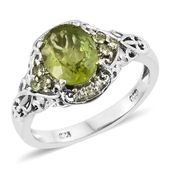 Hebei Peridot, Cambodian Zircon Platinum Over Sterling Silver Ring (Size 6.0) TGW 2.93 cts.