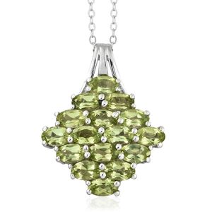 Hebei Peridot Platinum Over Sterling Silver Pendant With Chain (20 in) TGW 4.25 cts.