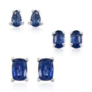 Himalayan Kyanite Platinum Over Sterling Silver Set of 3 Earrings TGW 2.62 cts.