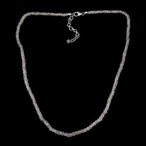 Sri Lankan Rainbow Moonstone Faceted Beads Platinum Over Sterling Silver Necklace (18-20 in) TGW 41.60 cts.