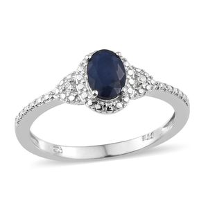 Madagascar Blue Sapphire, Cambodian Zircon Platinum Over Sterling Silver Ring (Size 8.0) TGW 0.92 cts.