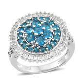 Malgache Neon Apatite, White Topaz Platinum Over Sterling Silver Cluster Flower Ring (Size 6.0) TGW 3.68 cts.
