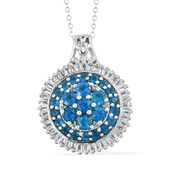Malgache Neon Apatite, White Topaz Platinum Over Sterling Silver Cluster Flower Pendant With Chain (20 in) TGW 3.87 cts.