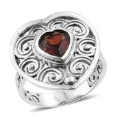 Mozambique Garnet Sterling Silver Heart Ring (Size 7.0) TGW 1.47 cts.
